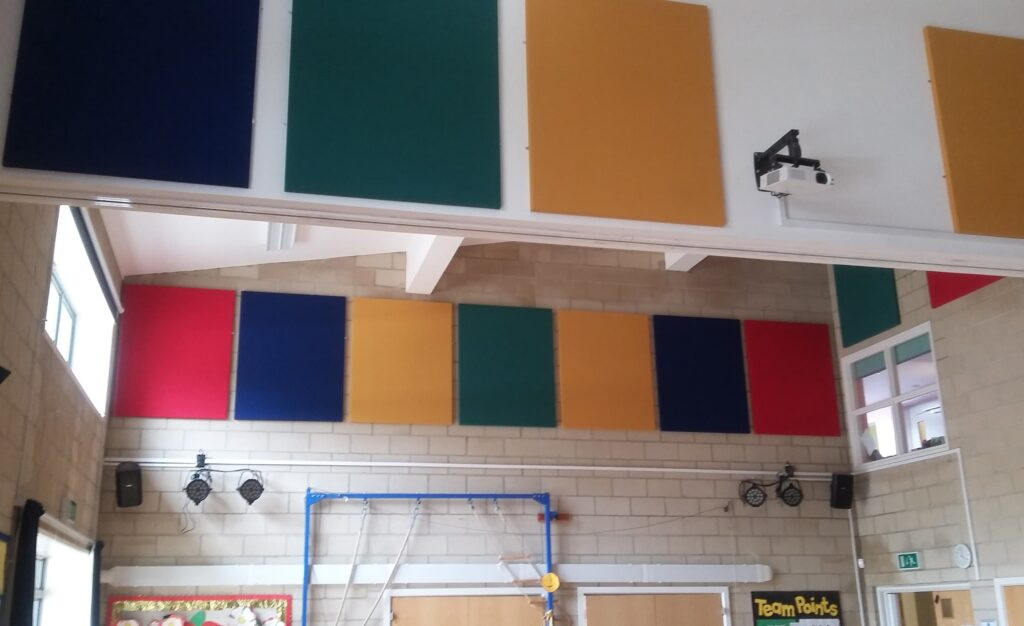 Sports hall acoustic improvement with sound absorption panels