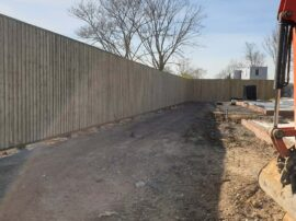Finshed acoustic fence for Hill House Homes